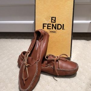 FENDI leather driving moccasins